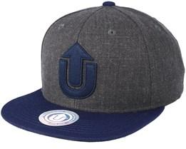Logo Dark Grey Melange/Navy Snapback - Upfront