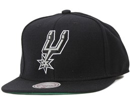 5c1a371582 San Antonio Spurs Wool Solid Black Snapback - Mitchell & Ness