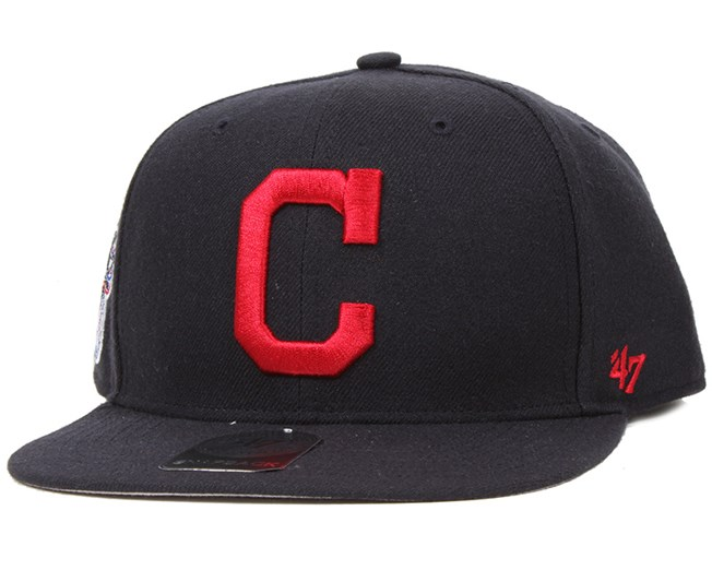 b2ac55f37880f Cleveland Indians Sure Shot Navy Red Snapback - 47 Brand caps ...