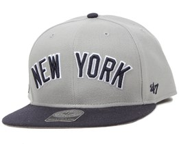 NY Yankees Script Side Grey Snapback - 47 Brand