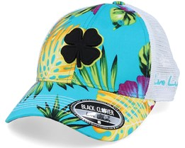 Island Luck 5 Tropical Print/White Trucker - Black Clover