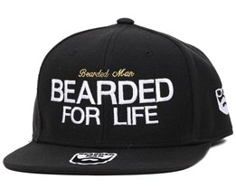 For Life Black Snapback - Bearded Man