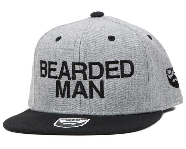 61613fc7f Official Grey/Black Snapback - Bearded Man caps | Hatstore.co.uk