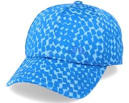 Angus Jacquard Cap Checker Ocean Blue Adjustable - J.Lindeberg