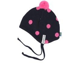 Kids Knitted Helmet Marine/Cerise Pom - Geggamoja