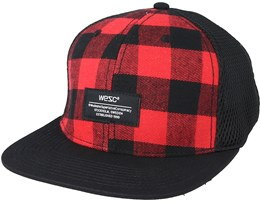 Plaid Baseball Flame Scarlet Red Snapback - Wesc