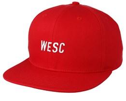 Tilted Logo Blood Red Snapback - WeSC