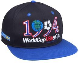 1994 World Cup Logo Black/Blue Vintage Black/Blue Snapback - Twins Enterprise