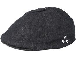 Denim Stitch Hawker Black Flat Cap - Kangol