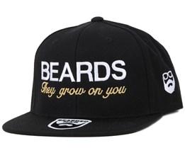 517734d90615b Beards Grow Black/White Snapback - Bearded Man