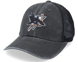 San Jose Sharks Raglan Bones Black Trucker - American Needle
