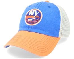 New York Islanders Hanover Ivory & Royal & Orange Trucker - American Needle