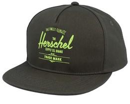 Whaler Dark Olive/Lime Green Snapback - Herschel