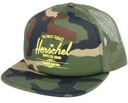 Whaler Mesh Woodland Camo/Green Trucker - Herschel