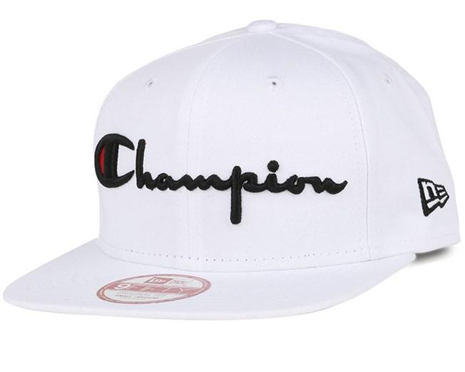 Reverse Weave Script White 9Fifty Snapback - Champion caps ... 54d506ea0af