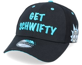 Rick & Morty Get Schwifty Curved Bill Cap Black Adjustable - Difuzed
