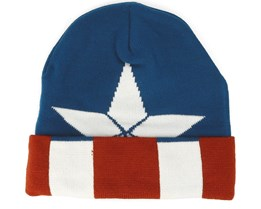 Captain America Knitted Pattern Blue Beanie - Bioworld