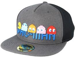 Pac-man Pixel Logo Characters Trucker Dark Grey Snapback - Bioworld dd54b98fe79