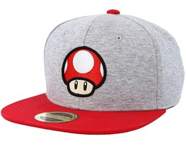 Nintendo Mushroom Grey Melange/Red Snapback - Bioworld