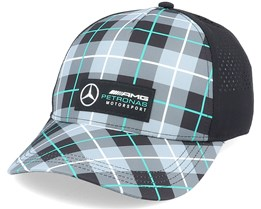 Mercedes Logo Cap Checkered Grey/Black Adjustable - Formula One