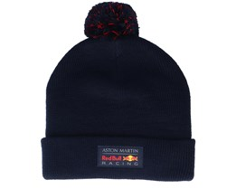 Red Bull Amrbr Fw Bobble Beanie Navy Cuff - Formula One