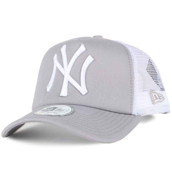 44e8e03a74f NY Yankees Grey White Clean Trucker - New Era cap - Hatstore.co.in