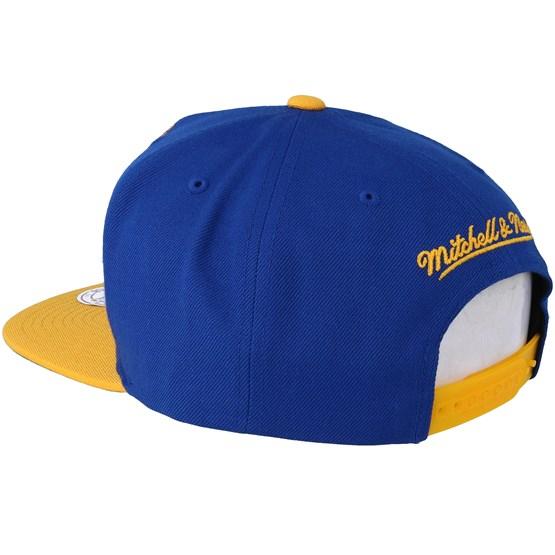 sale retailer 148eb 08114 Golden State Warriors XL Logo 2 Tone Yellow Blue 2 Snapback - Mitchell    Ness caps - Hatstoreaustralia.com