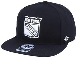 New York Rangers Sure Shot Captain Black/White Snapback - 47 Brand