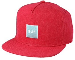 Denim Box Logo Red Snapback - Huf