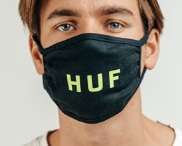 1-Pack Logo Mask Black Face Mask - HUF
