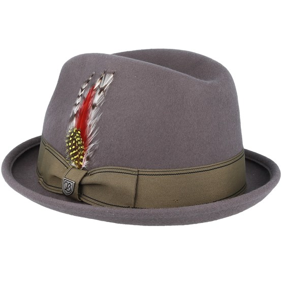5d532effe86f01 Gain Grey/Gold Fedora - Brixton hat - Hatstore.co.in