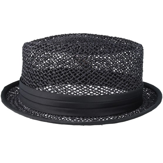 Stout Straw Black Pork Pie Brixton Hats