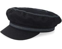 Fiddler EMB Black Flat Cap - Brixton