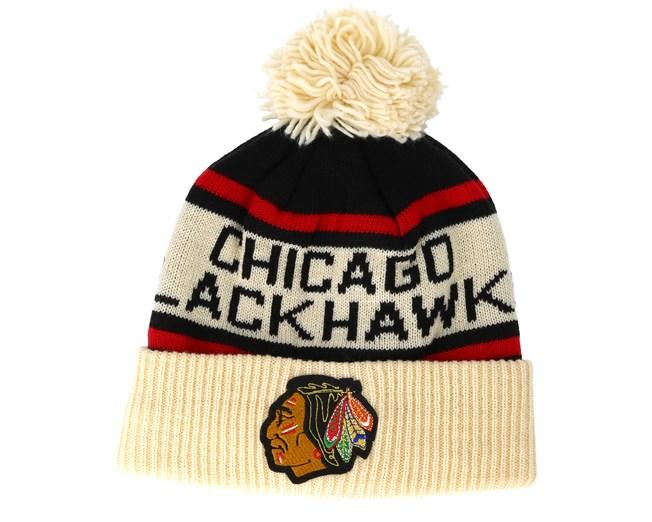 4557729499a Chicago Blackhawks Cuffed Knit Natural Black Red Pom - Adidas ...
