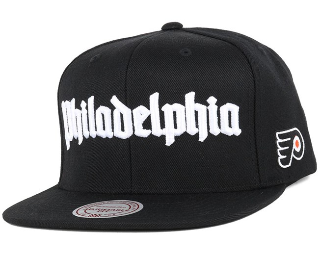 47b4dca2f770d Philadelphia Flyers Gothic City Black Snapback - Mitchell   Ness ...