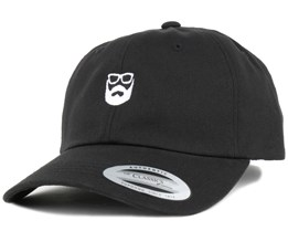 Dad Cap Black/White Adjustable - Bearded Man