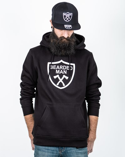 Crest Black/White Hoodie - Bearded Man