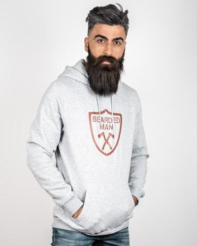 Crest Grey/Maroon Hoodie - Bearded Man