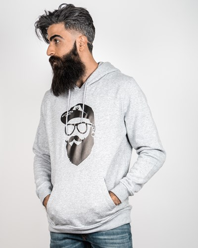 Cap Man Grey/Black Hoodie - Bearded Man
