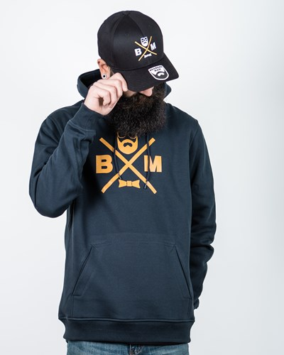 Cross Navy/Mustard Hoodie - Bearded Man