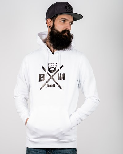 Cross White/Black Hoodie - Bearded Man