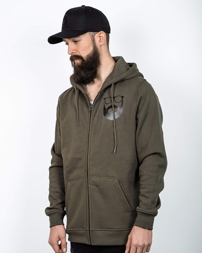 Logo Olive/Black Zip Hoodie - Bearded Man