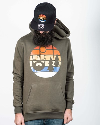 Sunset Olive Hoodie - Bearded Man