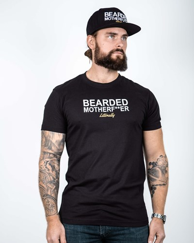 Bearded Mother F Black/White T-Shirt - Bearded Man