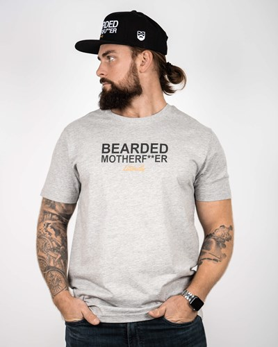 Bearded Mother F Grey/Black T-Shirt - Bearded Man