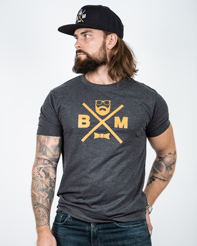 Cross Charcoal/Mustard T-Shirt - Bearded Man