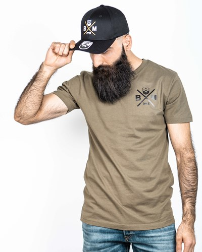 Cross Chest Olive/Black T-Shirt - Bearded Man