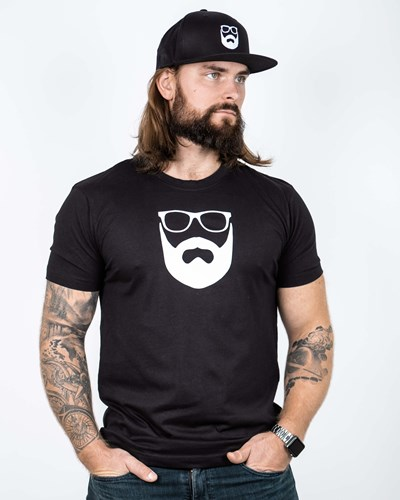 Logo Black/White T-Shirt - Bearded Man