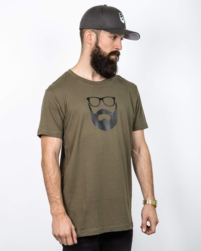 Logo Olive/Black T-Shirt  - Bearded Man