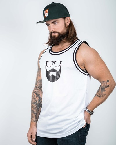 Logo White/Black Mesh Tank - Bearded Man